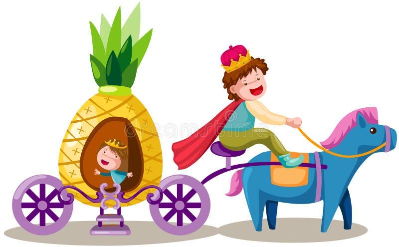 Prins som kör ananasvagnen royaltyfri illustrationer