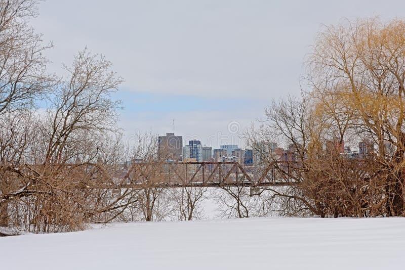 Prins van het spoorbrug van Wales over de bevroren rivier van Ottawa met bureau erachter torens van Hull, die door naakte bomen w royalty-vrije stock fotografie