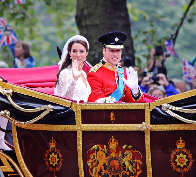 Prins William en het huwelijk van Catherine stock fotografie