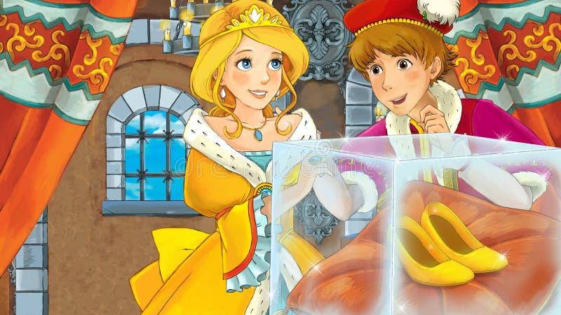 Prinsen och prinsessan i skorna för guld för slottkorridoren de talande, som tillhör prinsessan, är i special glass utläggning royaltyfri illustrationer