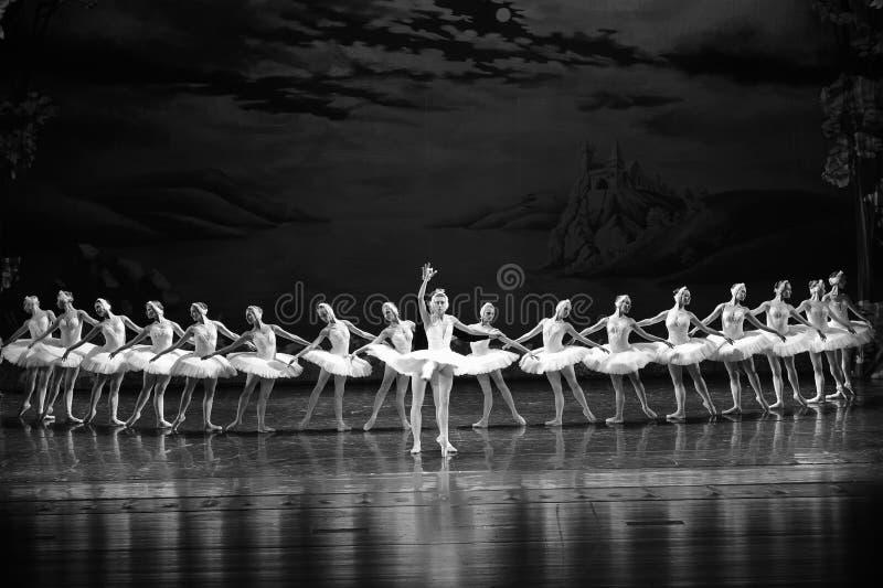 Prinsen Siegfried faller förälskat med svanprinsessaOjta-balett svan sjön arkivbilder