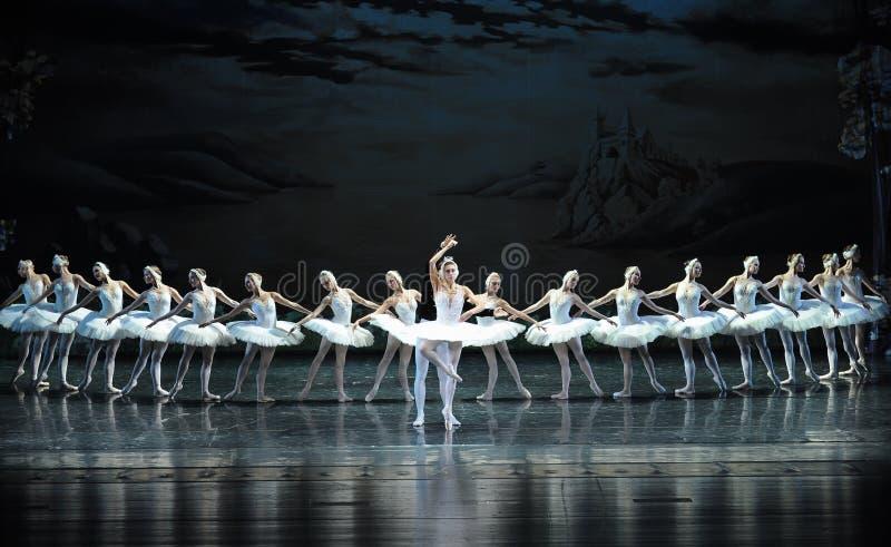 Prinsen Siegfried faller förälskat med svanprinsessaOjta-balett svan sjön royaltyfria bilder