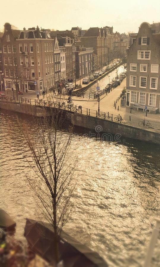 Prinsengracht canal in Amsterdam. High angle view of Prinsengracht canal in Amsterdam city, Netherlands royalty free stock photography