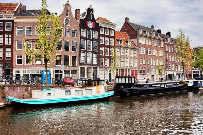 Prinsengracht Canal in Amsterdam. With historic row houses and houseboats, North Holland, Netherlands stock image