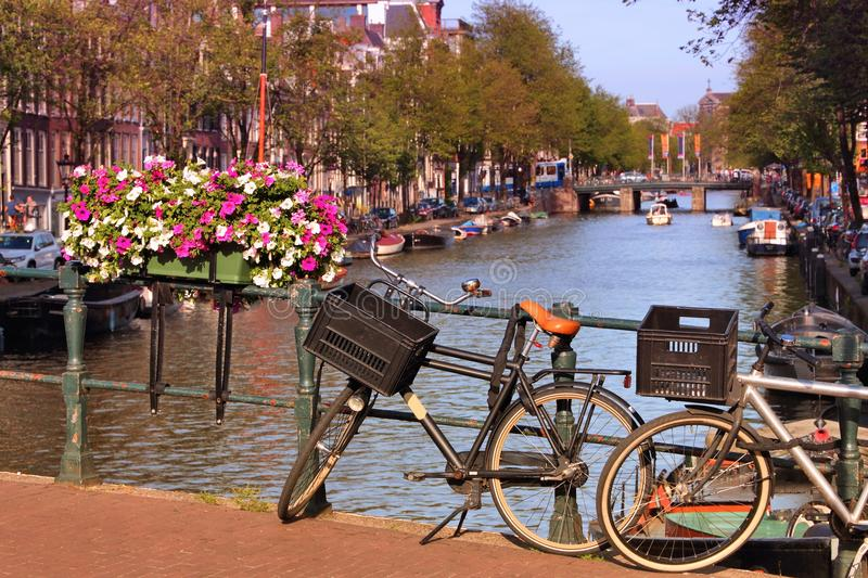 Prinsengracht Canal. In Amsterdam, Netherlands. Bicycle parked on a bridge stock images