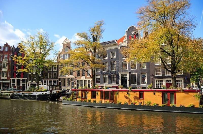 Prinsengracht canal. Amsterdam, Netherlands. Houses along the Prinsengracht canal in autumn. Amsterdam, Netherlands royalty free stock photo