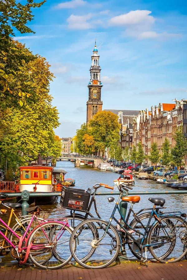 Prinsengracht canal in Amsterdam. Western church and Prinsengracht canal in Amsterdam stock image