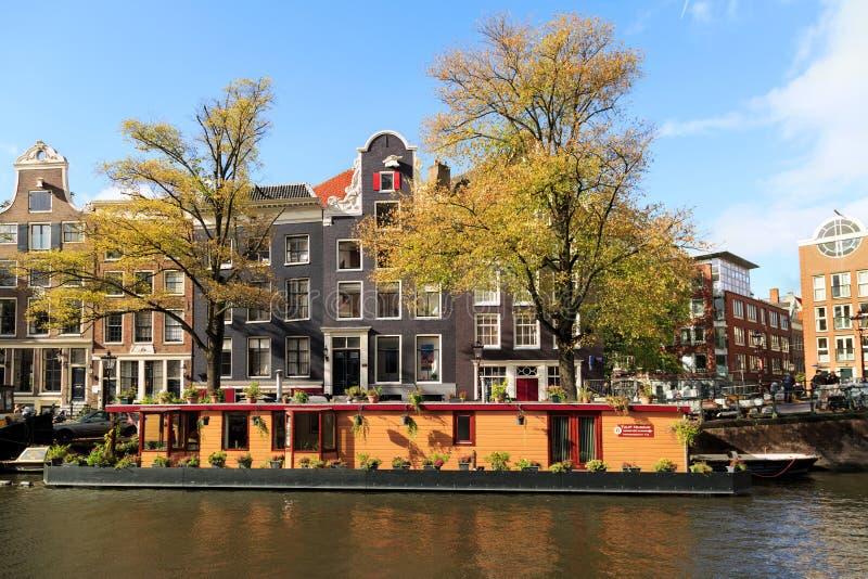Prinsengrachtkanaal in de herfst Amsterdam, Nederland royalty-vrije stock afbeelding