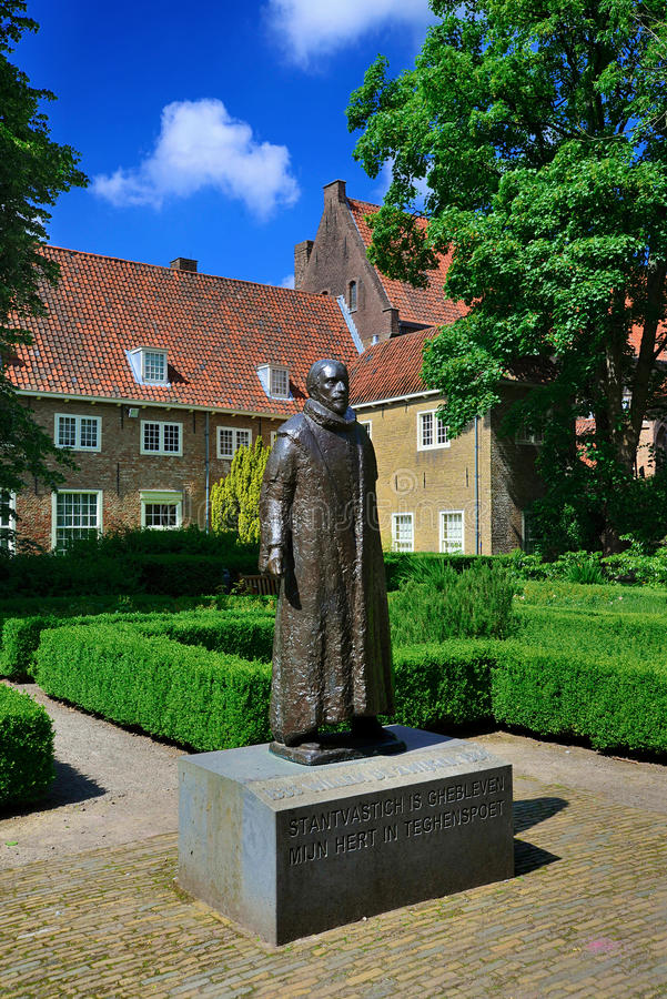 Prinsenhof, Delft. The statue of William of Orange (Willem van Oranje) in the guarden of the Prinsenhof (Court of the Prince) in Delft, the Netherland. The cite royalty free stock photo