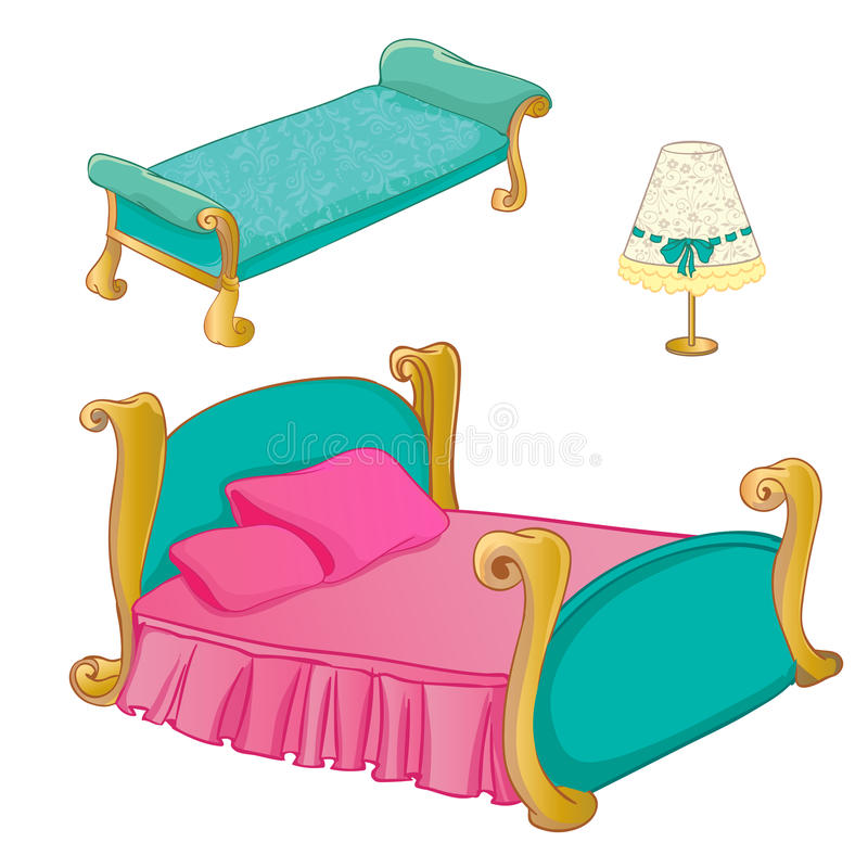 Prinses Bedroom Furniture Set stock illustratie