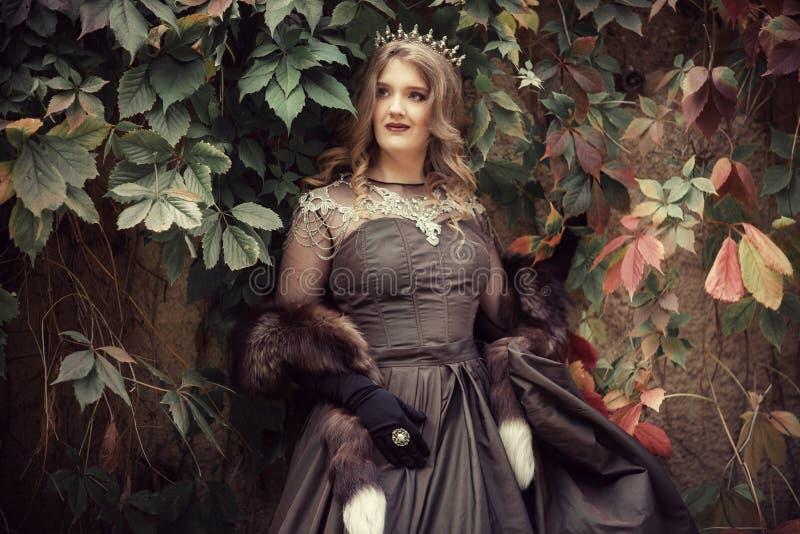 Prinses bij de steenmuur royalty-vrije stock foto's