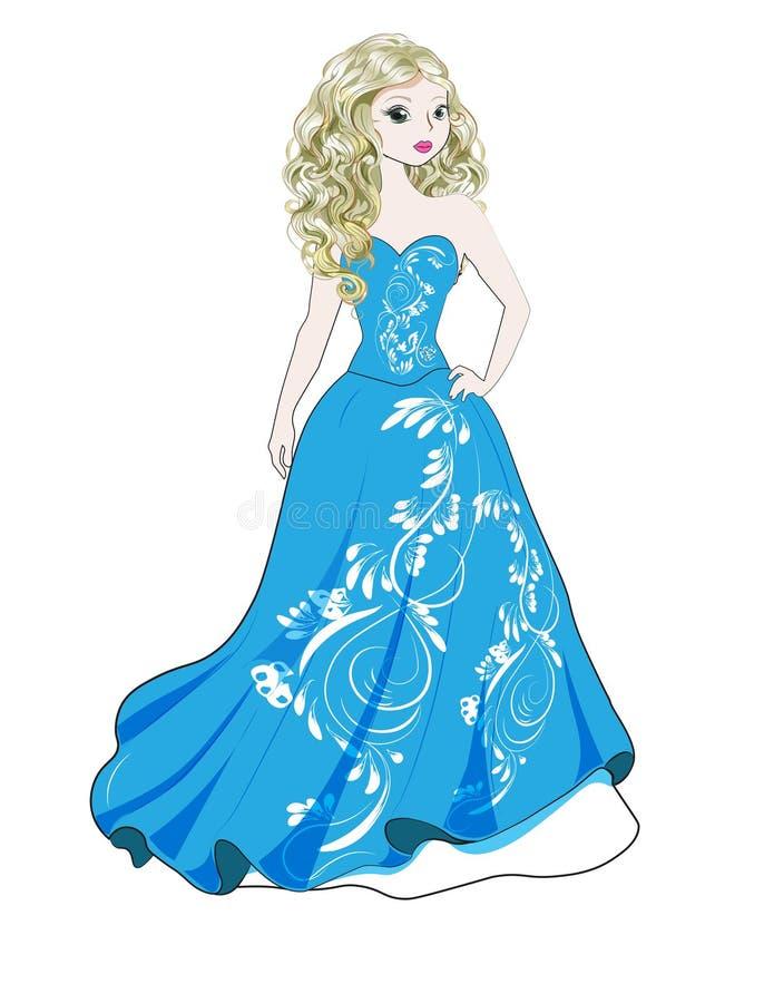 Prinses in blauwe kleding stock illustratie