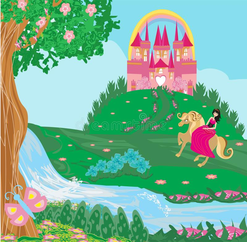 Prinses die een paard berijden in het kasteel vector illustratie