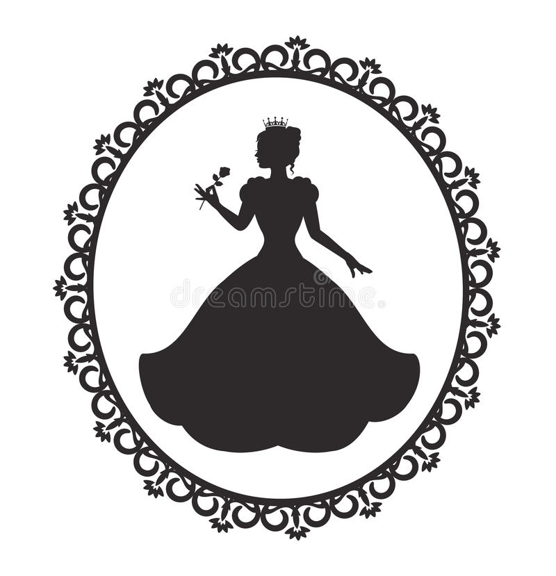 Prinses in een prachtige kleding in een retro kader royalty-vrije illustratie