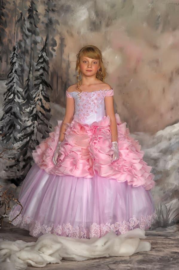 Prinses in een roze kleding royalty-vrije stock afbeeldingen