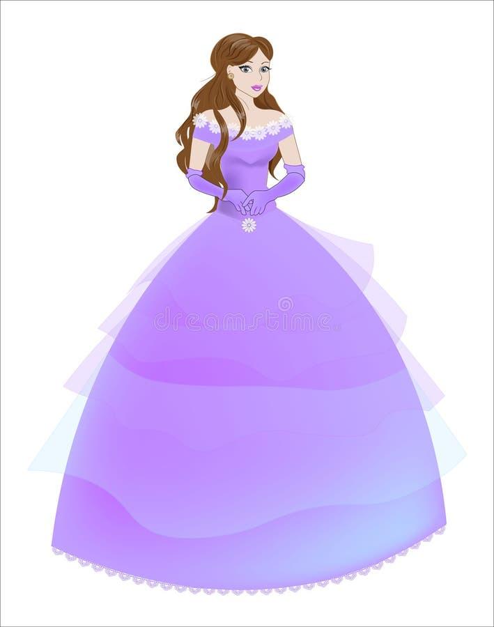 Prinses het brunette in een purpere kleding royalty-vrije stock afbeelding