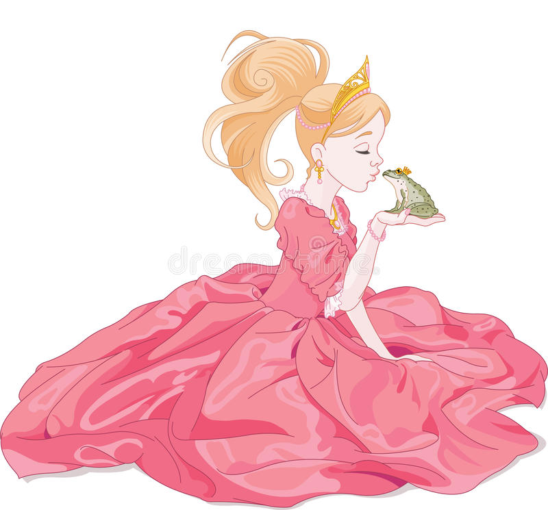Prinses Kissing Frog royalty-vrije illustratie