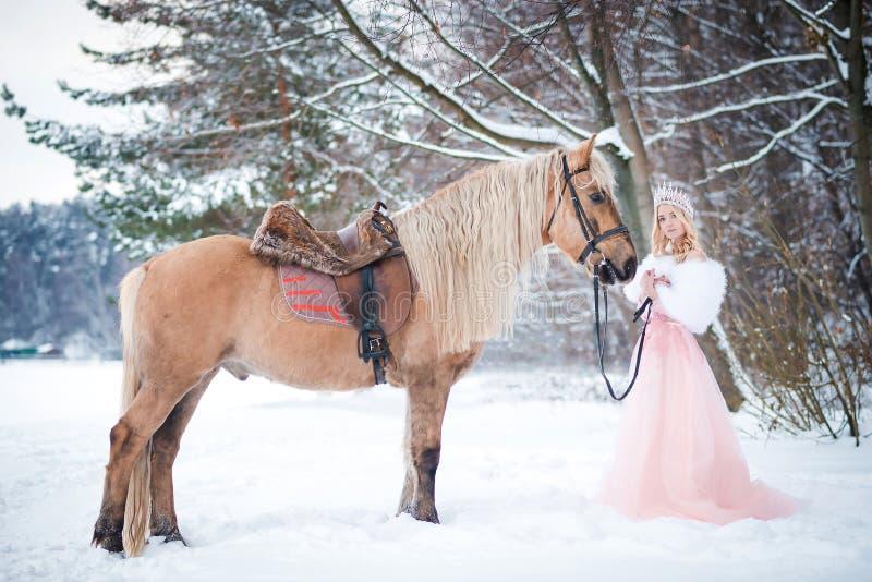 Prinses in kroon met paard in de winter Abstracte fantasieachtergronden met magisch boek Romantische fanatsy stock afbeeldingen