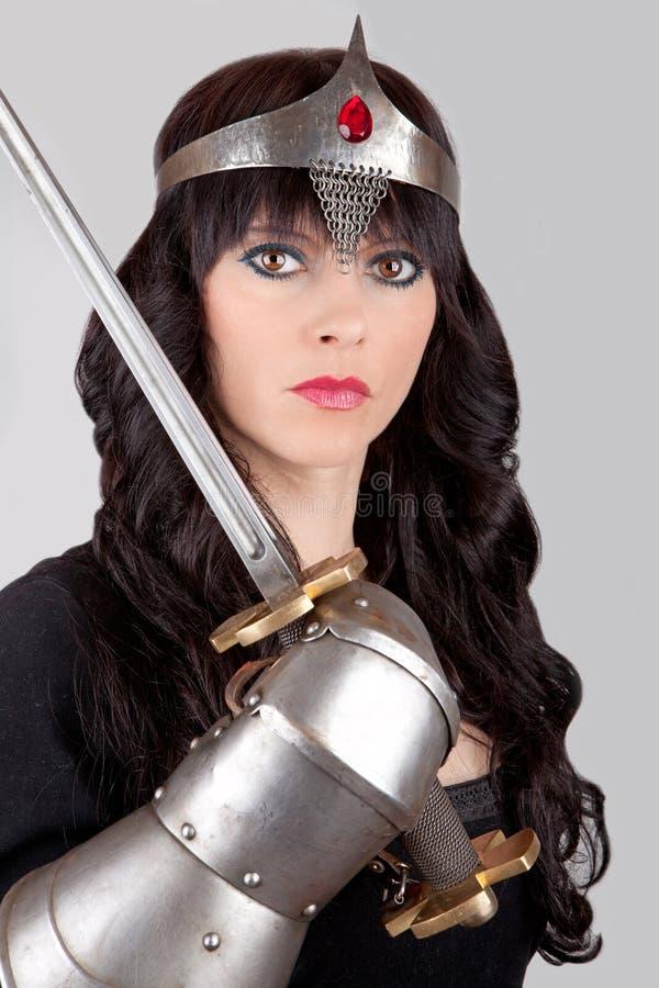 Prinses met een zwaard royalty-vrije stock afbeelding