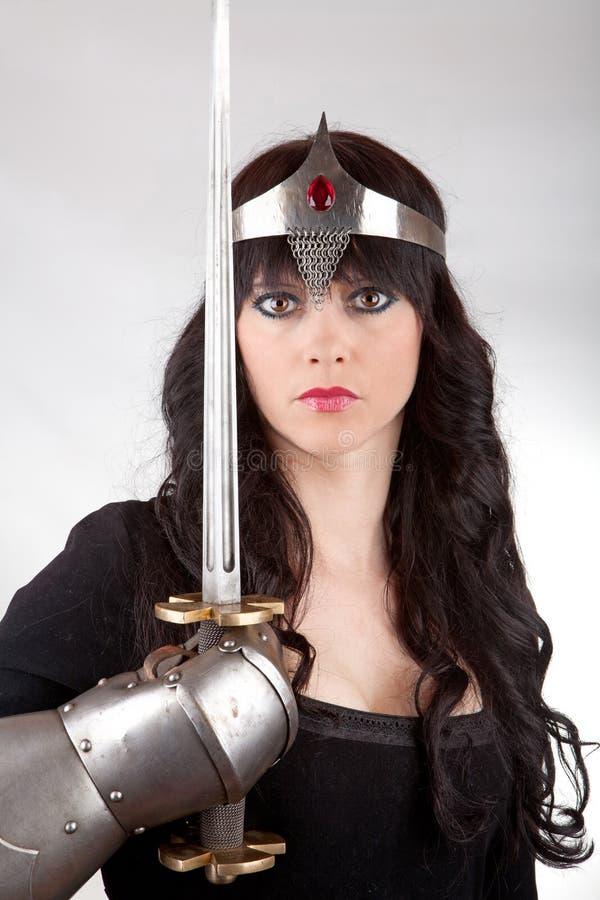 Prinses met een zwaard stock foto's