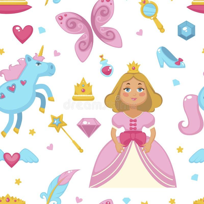 Prinses met feeelementen, eenhoorn en toverstokje naadloos die patroon op witte vector wordt geïsoleerd als achtergrond royalty-vrije illustratie
