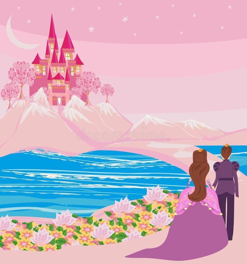 Prinses met prins in een magisch land stock illustratie