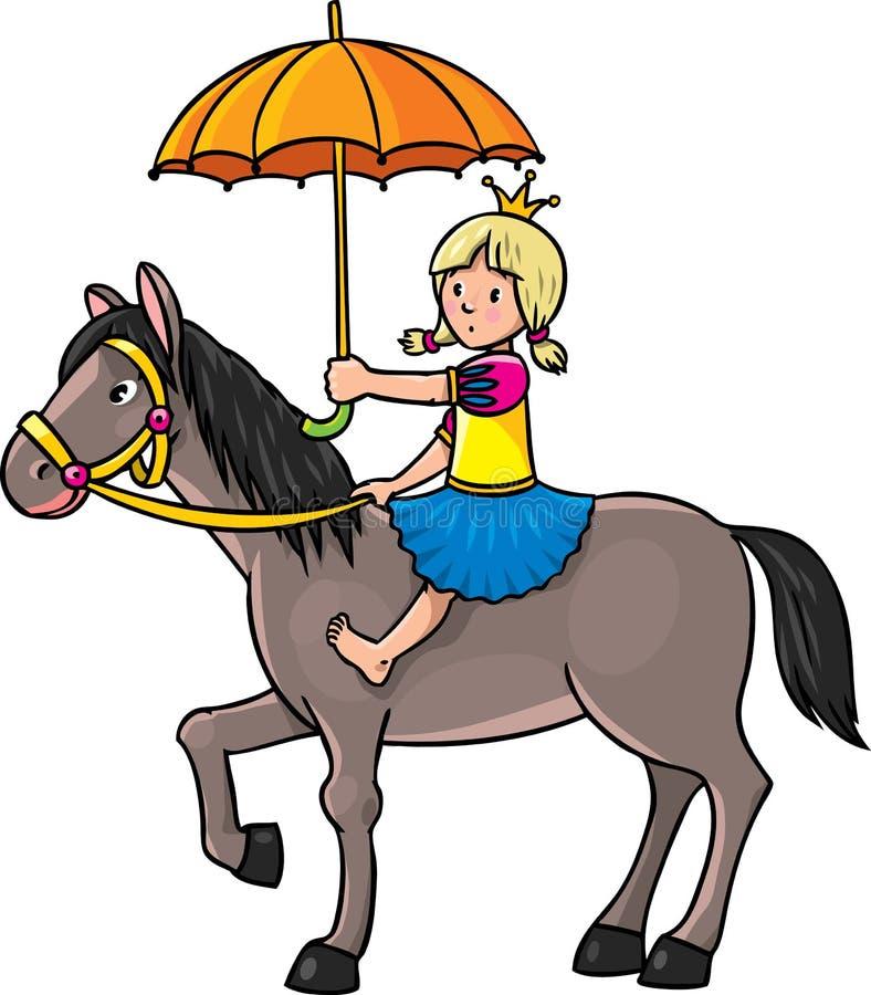 Prinses op het paard vector illustratie