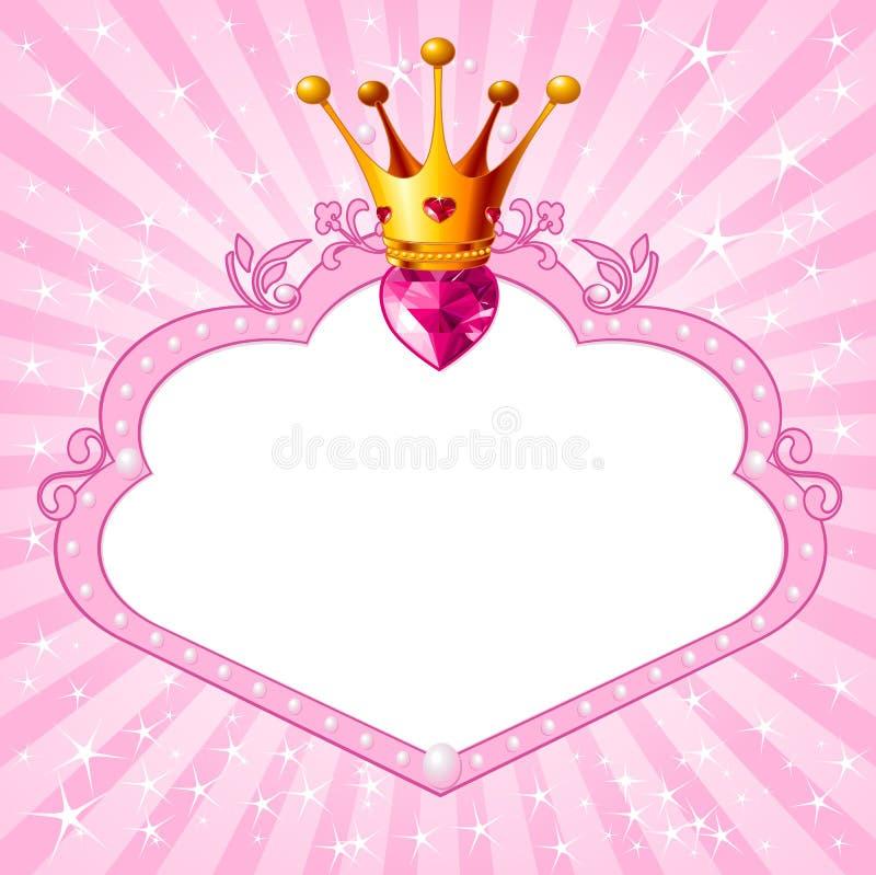 Prinses roze kader stock illustratie