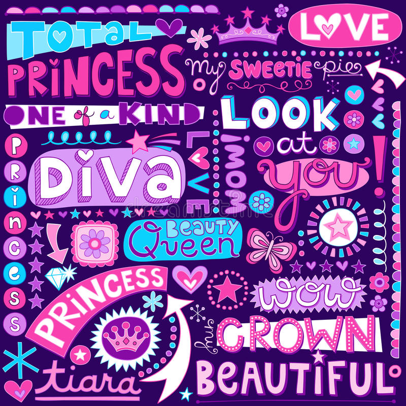 Prinses Word Doodles Beauty Pagent Vectorillustr vector illustratie