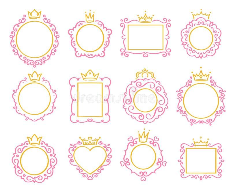 Prinsessa Frame Den gulliga kronagränsen, kungliga spegelramar och det majestätiska prinsklottret gränsar den isolerade vektorupp stock illustrationer