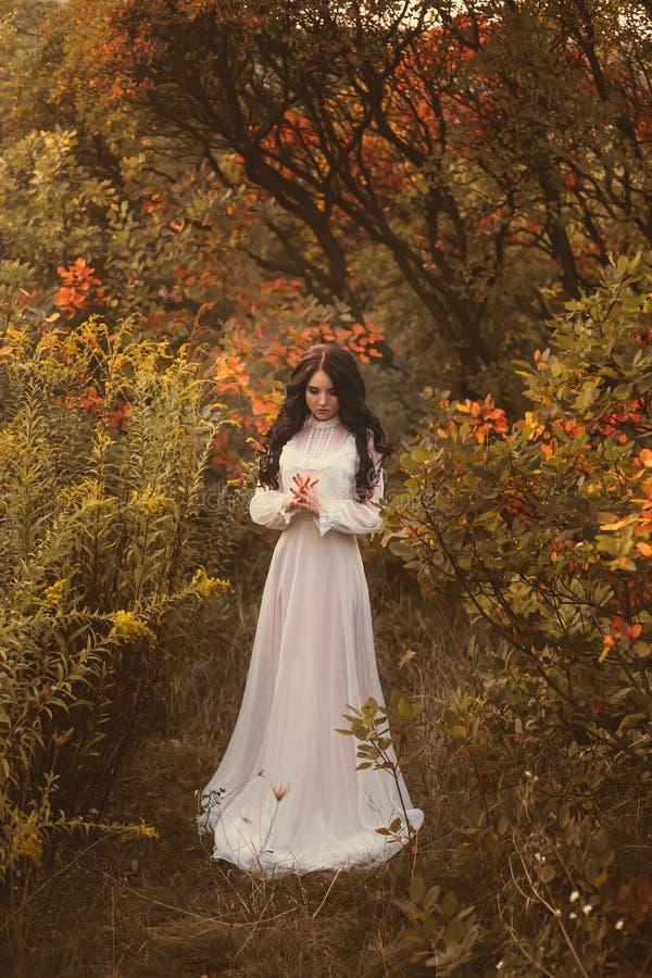 Prinsessa i en grym höstträdgård arkivfoto