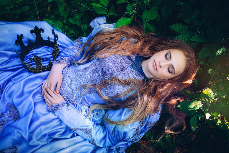 Prinsessa i magisk skog arkivbilder