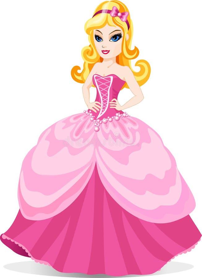 Prinsessa i rosa färgklänning stock illustrationer