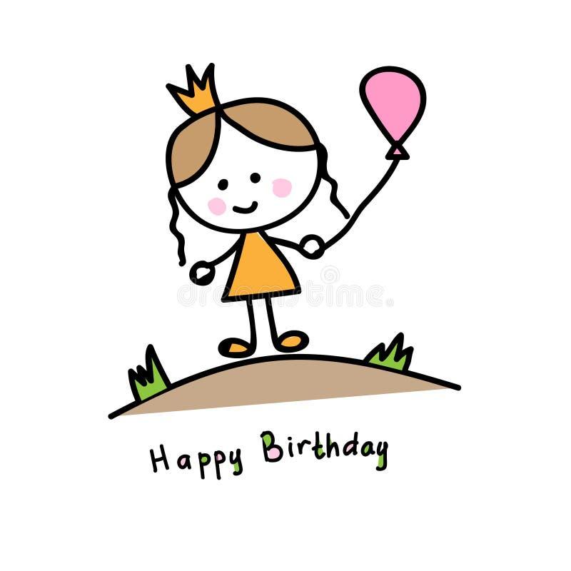 Prinsessa med bollen i ängen Vektorfrihandsteckning som dras av ett barn lycklig födelsedag royaltyfri illustrationer