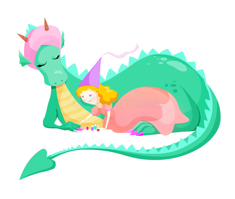 Prinsessa och drake royaltyfri illustrationer