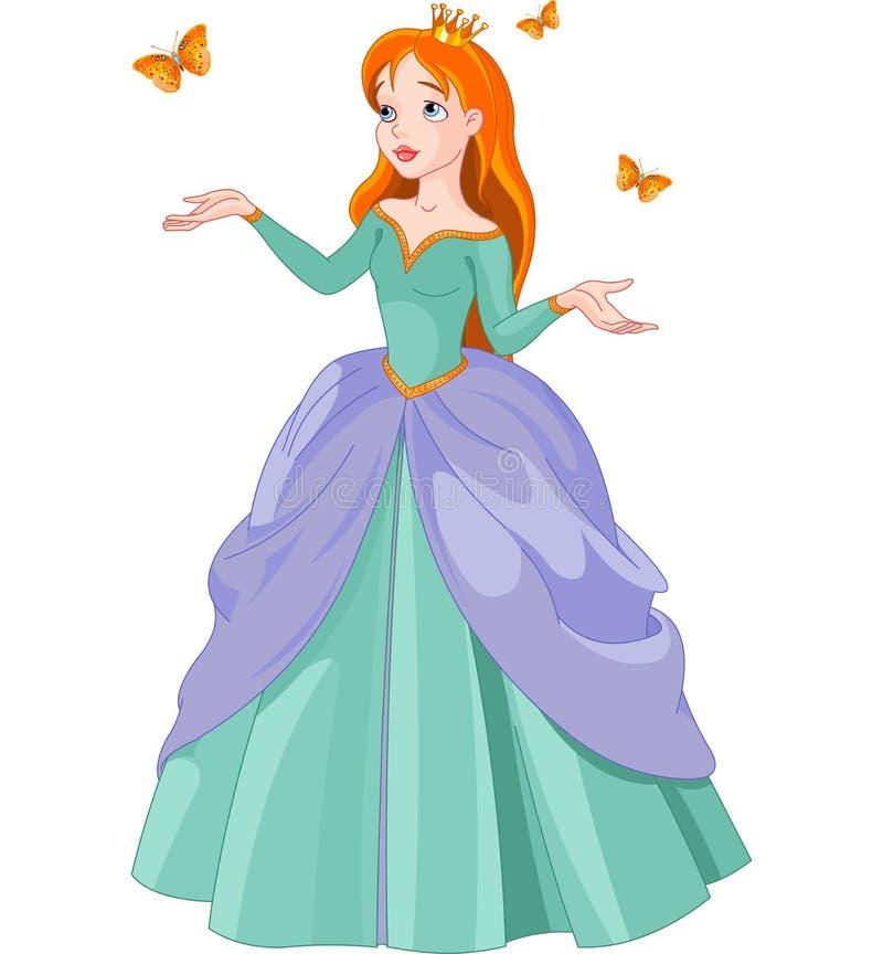 Prinsessa och fjärilar stock illustrationer