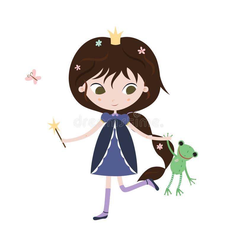 Prinsessa och groda Gullig liten prinsessa med grodaleksaken i henne händer vektor illustrationer