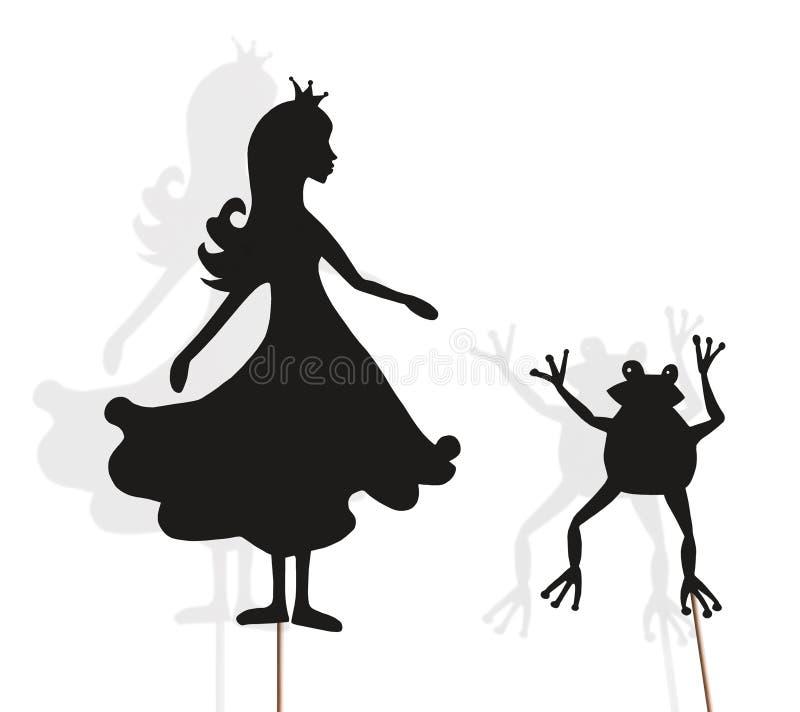 Prinsessa- och grodaskuggadockor på vit royaltyfri fotografi