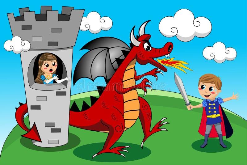 Prinsessa Prince Dragon Tower Kid Kids Tale royaltyfri illustrationer