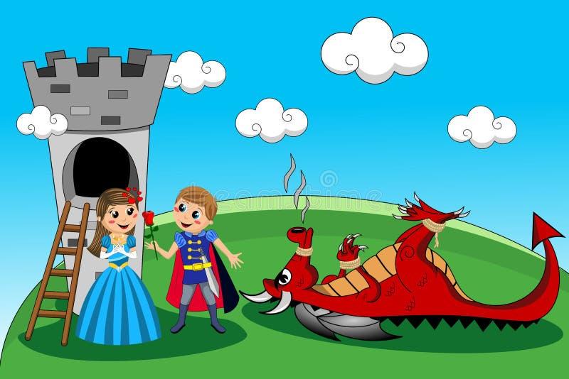Prinsessa Prince Dragon Tower Rescue Kids Tale royaltyfri illustrationer