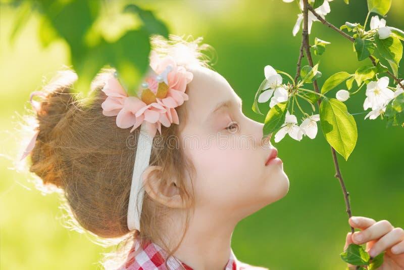Prinsessaflicka som andas en äppleblomma i solnedgångljus, profil arkivbilder