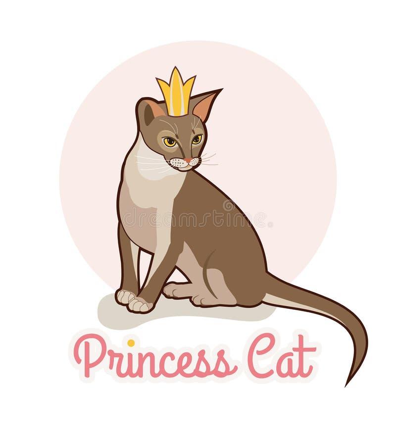 Prinsessakatt med den guld- kronan Abyssinian isolerad illustration för katt vektor Stående av den sittande katten vektor illustrationer