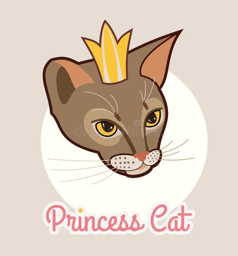 Prinsessakatthuvud som isoleras med den guld- kronan Abyssinian kattvektorillustration Stående av katts huvud stock illustrationer