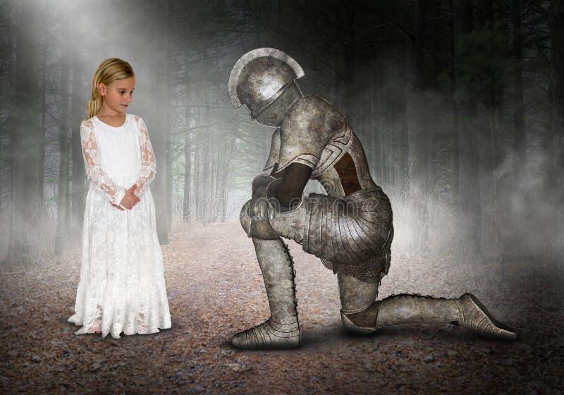Prinsessan riddaren, barnet som spelar, gör för att tro, inbillat royaltyfri bild