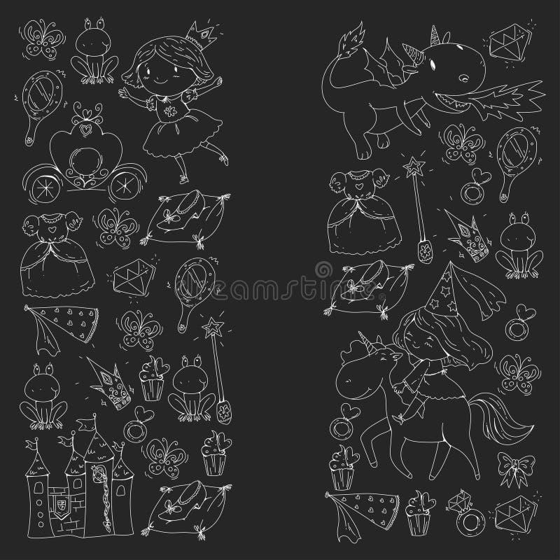Prinsessavektormodeller Gullig liten prinsessa med enhörningen och draken Slott för lilla flickan, klänning, trollspö fe stock illustrationer