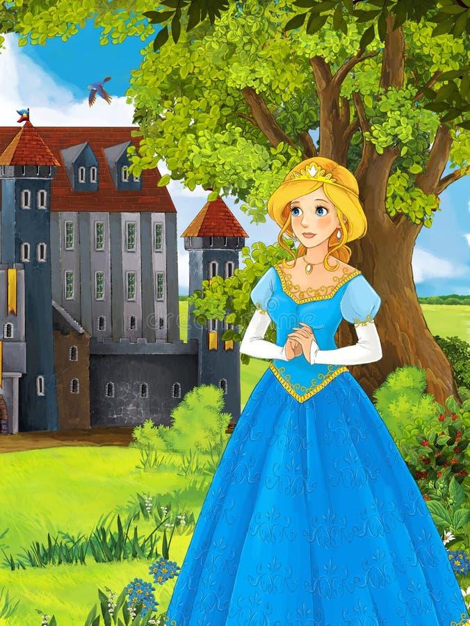 Prinsessorna - slottar - riddare och feer - härliga Manga Girl - illustration för barnen stock illustrationer