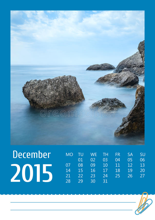 Print2015 ημερολόγιο φωτογραφιών Δεκέμβριος στοκ εικόνες με δικαίωμα ελεύθερης χρήσης