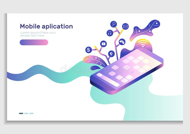 App development Mobile web gradient vector illustration.Isometric mobile phone with icon of application.User experience,user inter royalty free illustration