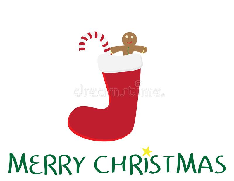 Merry Christmas logo with Red sock, gingerbread cookie, Red and white striped candy and Yellow star on white background vector illustration