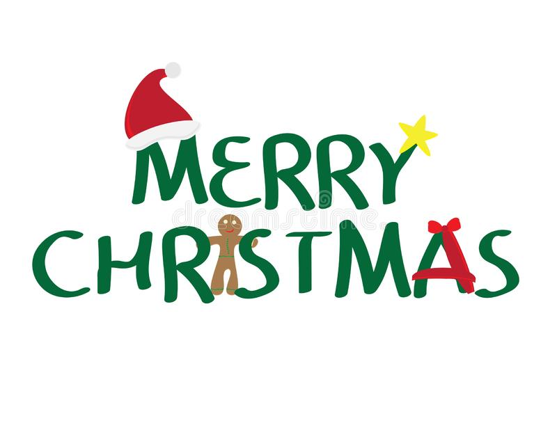 Merry Christmas logo with santa hat, Yellow star, gingerbread cookie and red ribbon on white background. Merry Christmas logo with red santa hat, Yellow star royalty free illustration
